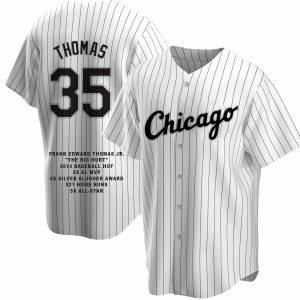 Frank Thomas Custom Chicago Pinstripe Career Stat Jersey