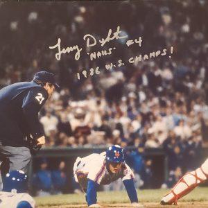 Lenny Dykstra Autographed 11x14 Photo Inscription 1986 WS Champs Nails SILVER
