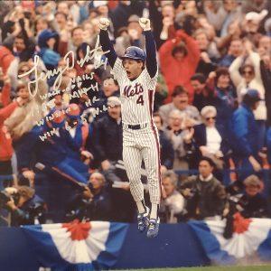 Lenny Dykstra Autographed 11x14 Photo Inscription 1986 Walk Off Smith Game Winning HR SILVER