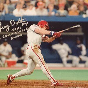 Lenny Dykstra Autographed 11x14 Photo Inscription 1993 Silver Slugger Award SILVER
