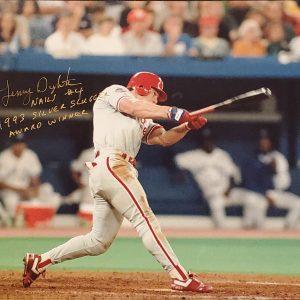 Lenny Dykstra Autographed 11x14 Photo Inscription 1993 Silver Slugger Award Winner GOLD