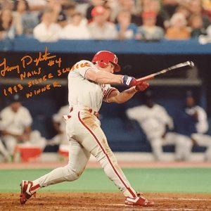 Lenny Dykstra Autographed 11x14 Photo Inscription 1993 Silver Slugger Award Winner ORANGE