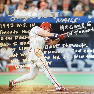 Lenny Dykstra Autographed 8x10 Photo Inscription 1993 World Series Moon Shot