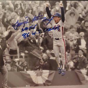 Lenny Dykstra Autographed 8x10 Photo Inscription 86 WS Champs
