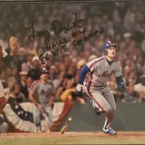 Lenny Dykstra Autographed 8x10 Photo Inscription 86 WS Champs BLACK
