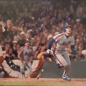 Lenny Dykstra Autographed 8x10 Photo Inscription 86 WS Champs BLUE