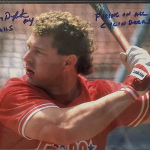 Lenny Dykstra Autographed 8x10 Photo Inscription Firing On All Cylinders