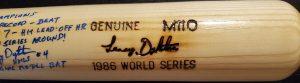Lenny Dykstra Autographed Louisville Slugger 1986 World Series Game Model Bat 3