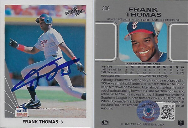 Frank Thomas 1990 Leaf #300 Autographed Card Beckett
